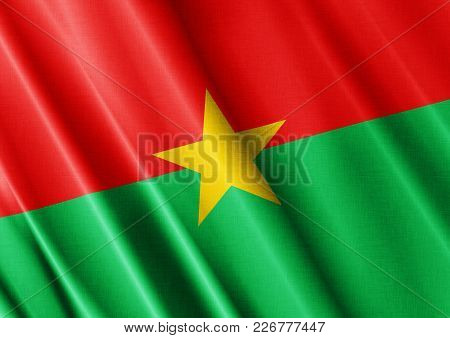 Burkina Faso Textured Proud Country Waving Flag Close