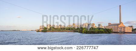 Cityview With Gasometro And Guaiba Lake At Sunset, Porto Alegre
