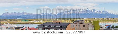Beagle Channel, Mountains And Buildings In Ushuaia