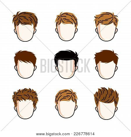 Set Of Boys Faces, Human Heads. Different Vector Characters Like Redhead And Brunet Toddlers, Cute T