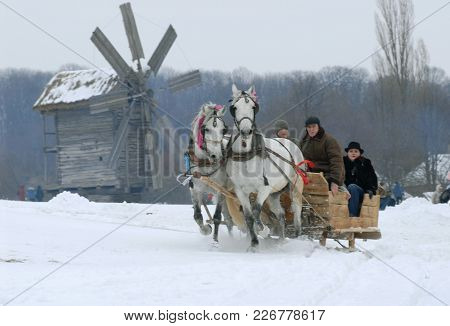 Sleighing In Pyrohiv During Winter Holiday