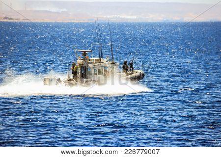 Eilat, Israel, March 13, 2015 : Israeli Patrol Boat Patrols The Red Sea Coast Near The Eilat City In