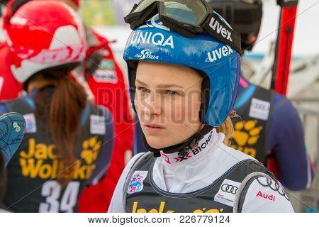 Bernadette Schild Concentrated Before Fis Alpine Ski World Cup Giant Slalom In Kranjska Gora On The