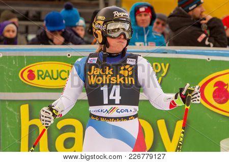 Lara Gut Inquiring After Fis Alpine Ski World Cup Giant Slalom In Kranjska Gora On The 6th Of Januar
