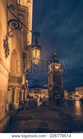 Old Town Square In Krakow At Blue Hour