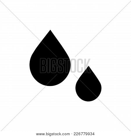Black Drops Icon In Flat Style. Isolated Drops Icon On White Background For Use In Variety Of Projec