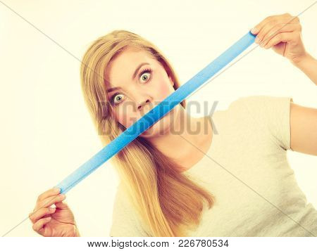 No Freedom Of Speach Concept. Attractive Blonde Woman Covering Mouth With Tape.