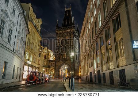 Prague, Czech Republic - November 30, 2017 : Famous Powder Tower At Night In Prague, Czech Republic.