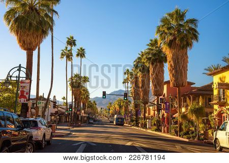 Palm Springs, California, Usa - December 27, 2017 : Scenic Street View Of Palm Springs At Sunrise. I
