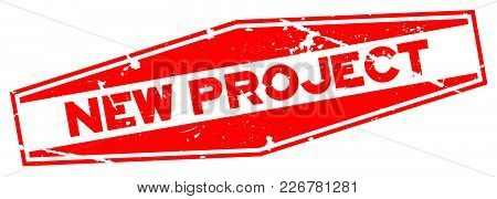 Grunge Red New Product Word Hexagon Rubber Seal Stamp On White Background