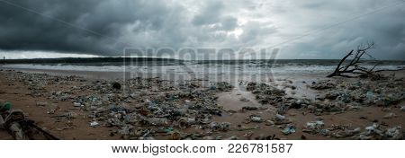 Bali, Indonesia - December 19, 2017: Garbage On Beach, Environmental Pollution In Bali Indonesia. St