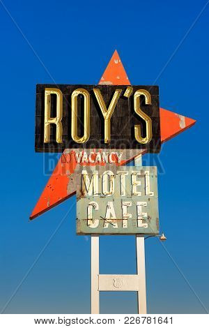 Vintage Neon Sign Of Roy's Motel And Cafe On Route 66