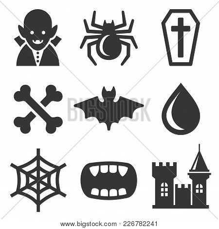 Vampire Icons Set On White Background. Vector Illustration