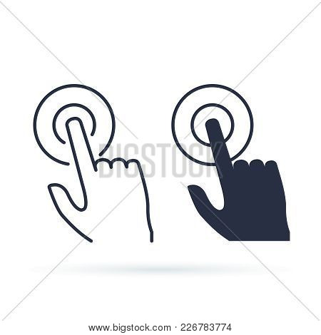 Touchscreen Icon Symbol. Premium Quality Isolated Forefinger Element In Trendy Style. Touch Outline