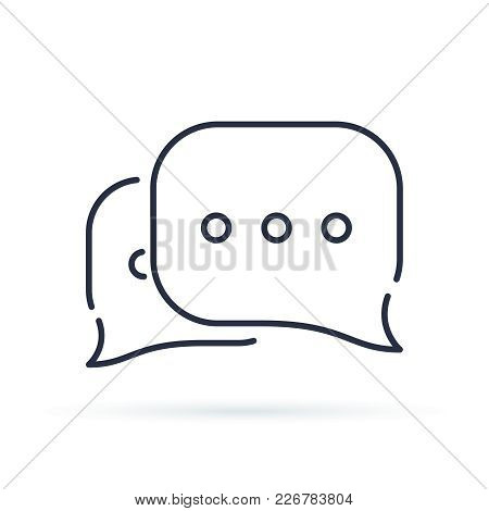 Speech Bubbles Line Icon, Vector Flat Design Outline Illustration. Communication In Chat And Discuss