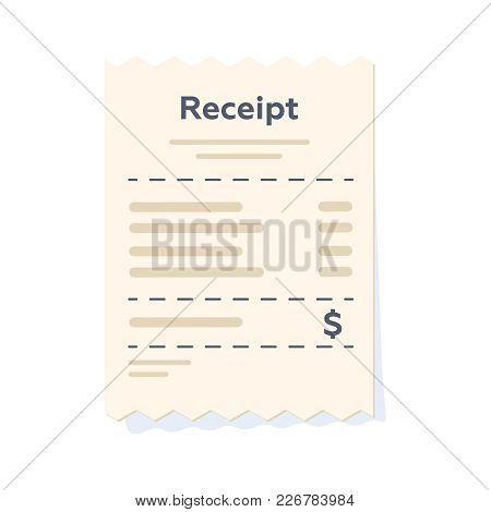 Paper Receipt In A Flat Style Isolated. Vector Illustration. Sales Printed Receipt. Bill Atm Templat