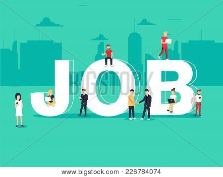 Job Search And Recruitment Hiring. Employment For Freelance Jobs, Career Concept. Flat Vector Illust