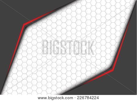 Abstract Red Line Metallic Gray Arrow With Hexagon Mesh On White Blank Space Design Modern Futuristi
