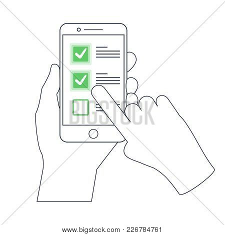Checklist On Smartphone Display, Checkboxes With Check Mark. List Of Purchases, Tasks To Do Or Wish