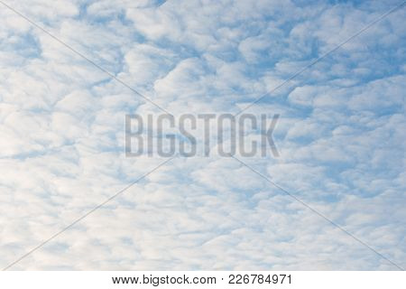 Calm Sunset Clouds And Blue Sky Background