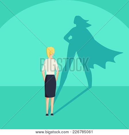 Businesswoman with superhero shadow vector concept. Business symbol of emancipation ambition and success motivation. Leadership or courage and challenge. Eps10 vector illustration. poster