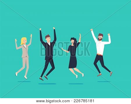 Businessmans And Womans Jump With Happiness Together. Business Victory Celebrating. Vector Illustrat
