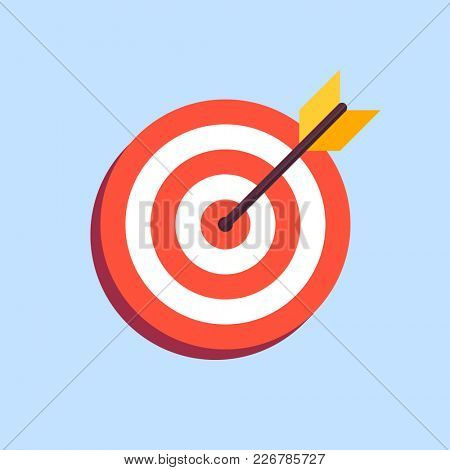 Arrow in center of board. Flat target icon isolated on blue background
