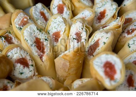 Pancakes Stuffed Cheese, Dill And Red Fish