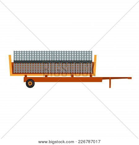 Agricultural Trailer, Agriculture Industrial Farm Equipment, Farm Machinery Vector Illustration On A