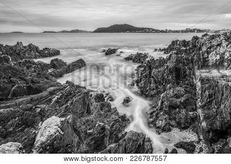 Black And White Seaside Landscape In Monte Lourido