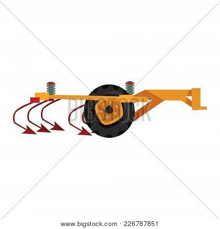 Agricultural Ripper Machinery, Agriculture Industrial Farm Equipment Vector Illustration On A White