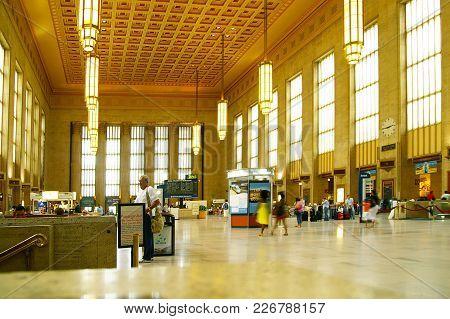 Philadelphia,pa/usa -08-21-2009: 30th Street Station, The Main Train Station In Philadelphia