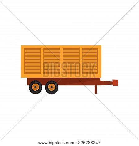 Agricultural Wagon Trailer, Agriculture Industrial Farm Equipment, Farm Machinery Vector Illustratio