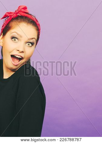 Craze Fun And Positive Madness. Woman Showing Her Funny Face Feel Carefree. Girl In Retro Pin Up Fas