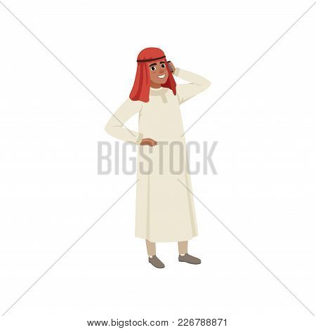 Arabic Businessman Character Talking By Pone, Muslim Man In Traditional Clothing Vector Illustration