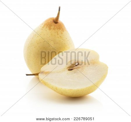 Nashi Pear One Whole And One Half (russet Pear) Isolated On White Background Yellow