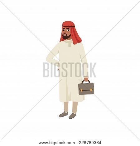 Arabic Businessman Character Standing With Briefcase, Muslim Man In Traditional Clothing Vector Illu