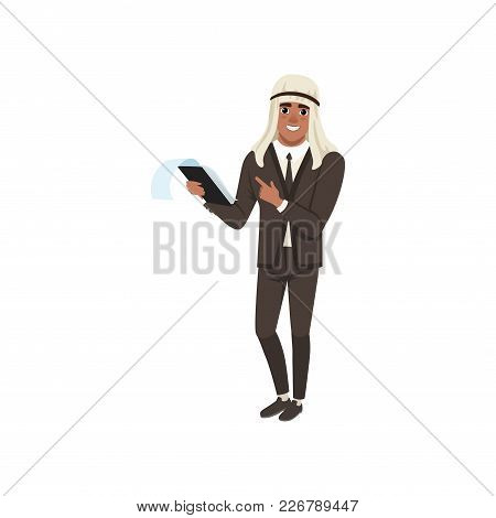 Arabic Businessman Character In Formal Wear Standing With Clipboard Vector Illustration On A White B
