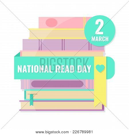 National Read Day And World Book Day Concept. Stack Of Books In Pastel Color. Vector Illustration.
