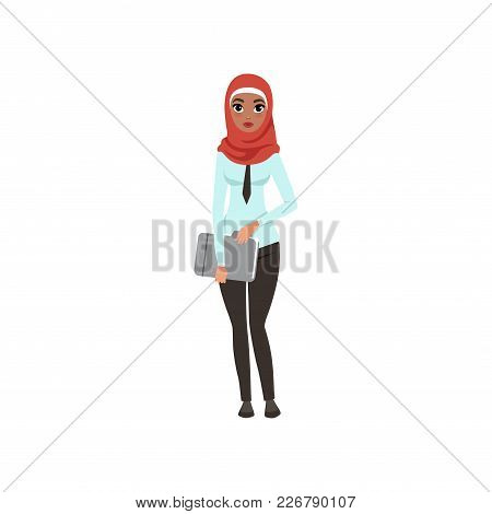 Arabic Businesswoman Character Standing With Folder For Documents, Elegant Muslim Woman In Formal We