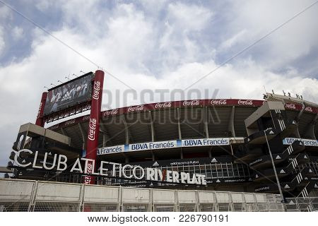Buenos Aires, Argentina - January 22, 2018: Detail Of River Plate Stadium In Buenos Aires, Argentina