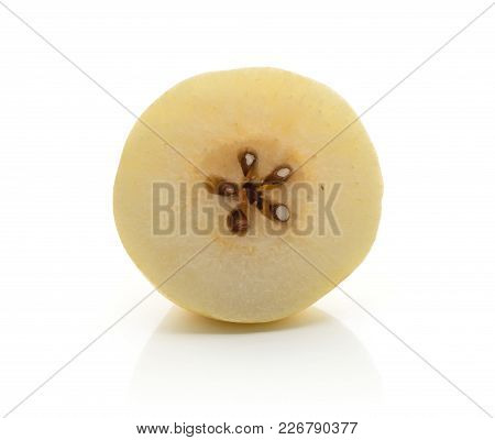 One Nashi Pear Half (russet Pear) Isolated On White Background Yellow Textured Flesh With Seeds