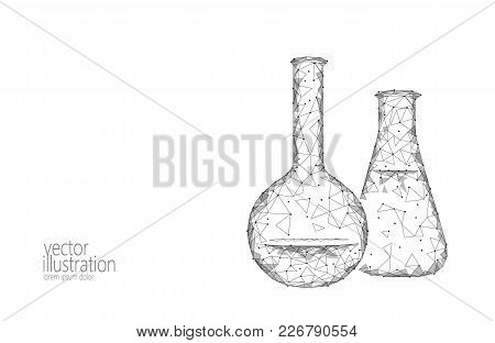 Low Poly Science Chemical Glass Flasks. Magical Equipment Polygonal Triangle Gray White Monochrome A