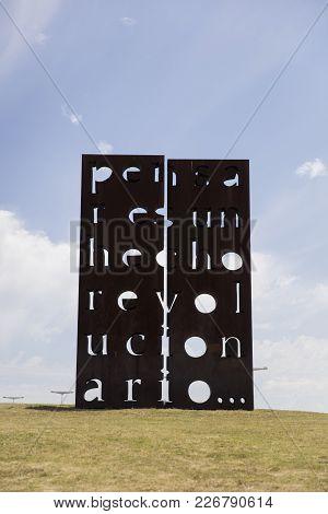 Buenos Aires, Argentina - January 22, 2018: Sculpture Pensar Es Un Hecho Revolucionario By Marie Ore