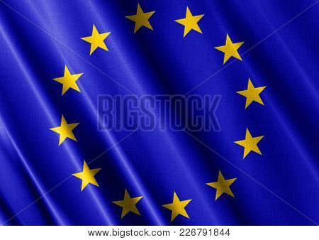 European Union Textured Proud Country Waving Flag Close