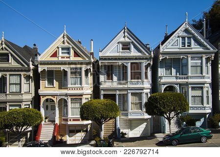 San Francisco, California, Usa - October 14, 2012: San Francisco Residential Street With Rows Of Vic