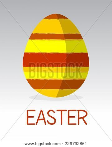 Easter Egg Modern Flat Design Vector. Simple Colorful Egg Placed On Gradient Background. Eps10 Vecto
