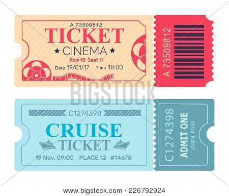 Cinema Ticket Cruise Coupon Set Of Vector Illustrations Pass Admissions To Entertainment And Travell