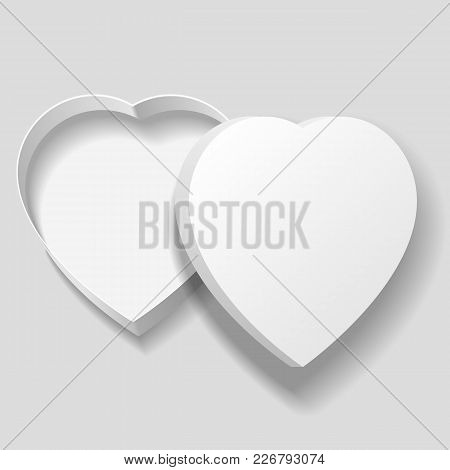 Vector Realistic Blank White Heart Shape Box Isolated On Gray Background. For Your Valentines Day Or