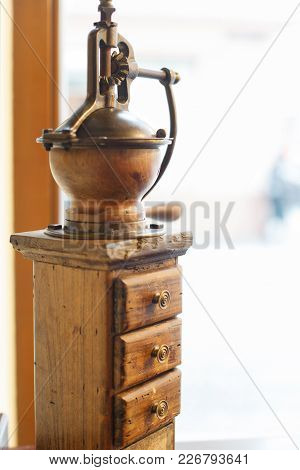Old Coffee Grinder With Drawers. Old Wood Eaten By Bark Beetle